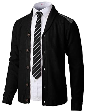 H2H Mens Classic Shawl Collar Button Up Cardigan with Shoulder Point Black  US S Asia 943df47e1