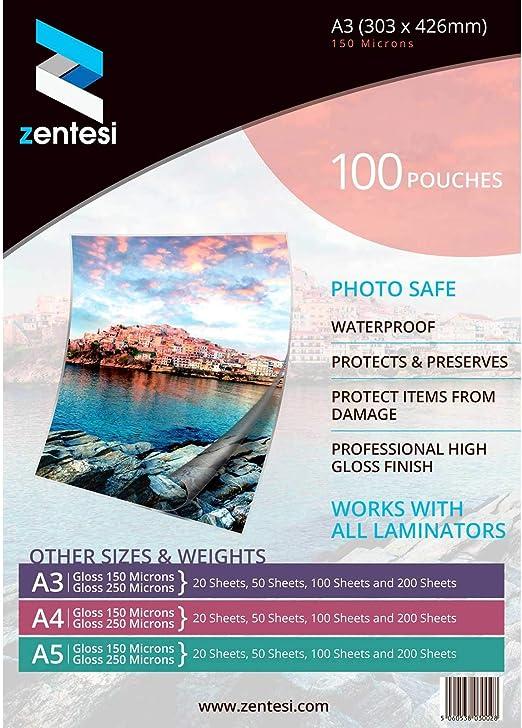 formato A3 Fogli di carta laminata ultra lucida per plastificatrici A3 Size: 303 x 426mm Transparent High Gloss 150 micron 75 + 75 micron