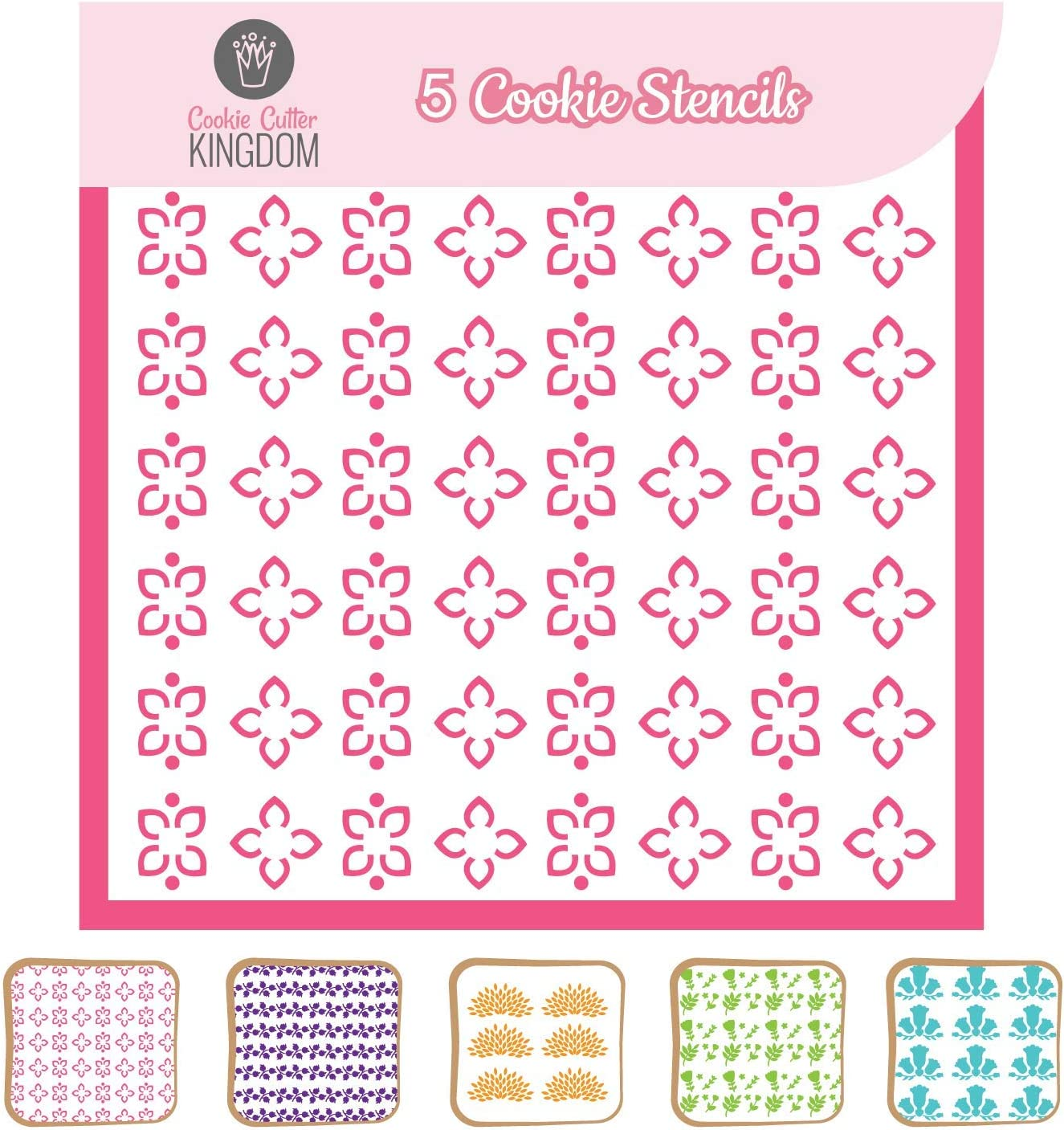Flower Cookie Stencil for Food Decorating. 5 Piece Cookie Cutter Kingdom Stencil for Royal Icing or Food Spray. 5.5 x 5.5 Inch Size. Summer and Spring Stencil.