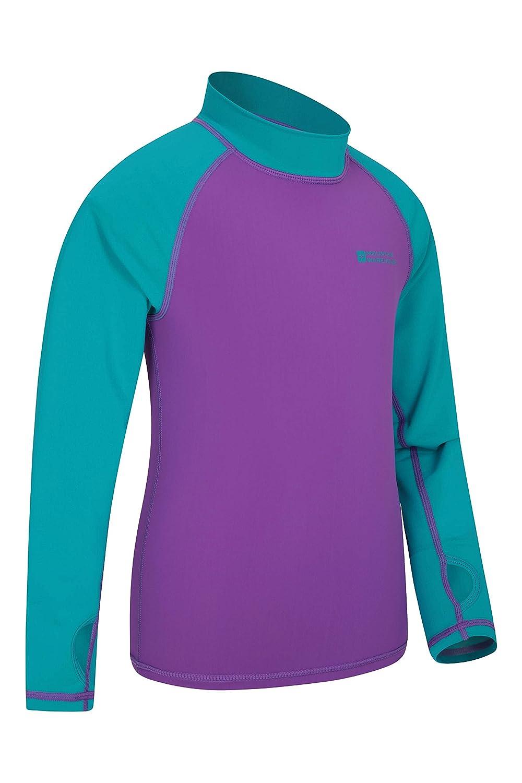 Asciugatura Rapida Cuciture Piatte Rash Guard con Protezione UV Nuoto Mountain Warehouse Rash Vest per Bambini Maglia a Maniche Lunghe per Bambini Elasticizzata
