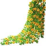 Yatim 8ft Sunflower Garland Pack of 2 Foliage Simulation Silk Flowers For Home Room Hotel Office Garden Wedding Garland Outside Decoration