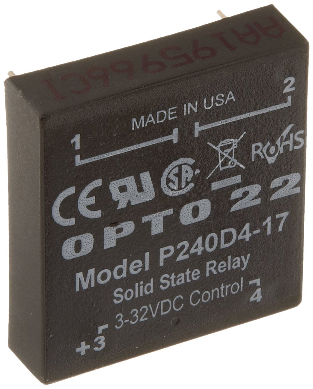 Opto 22 P240D4-17 P Model DC Control Solid State Relay Replacement Part Only, 240 VAC, 4 Amps
