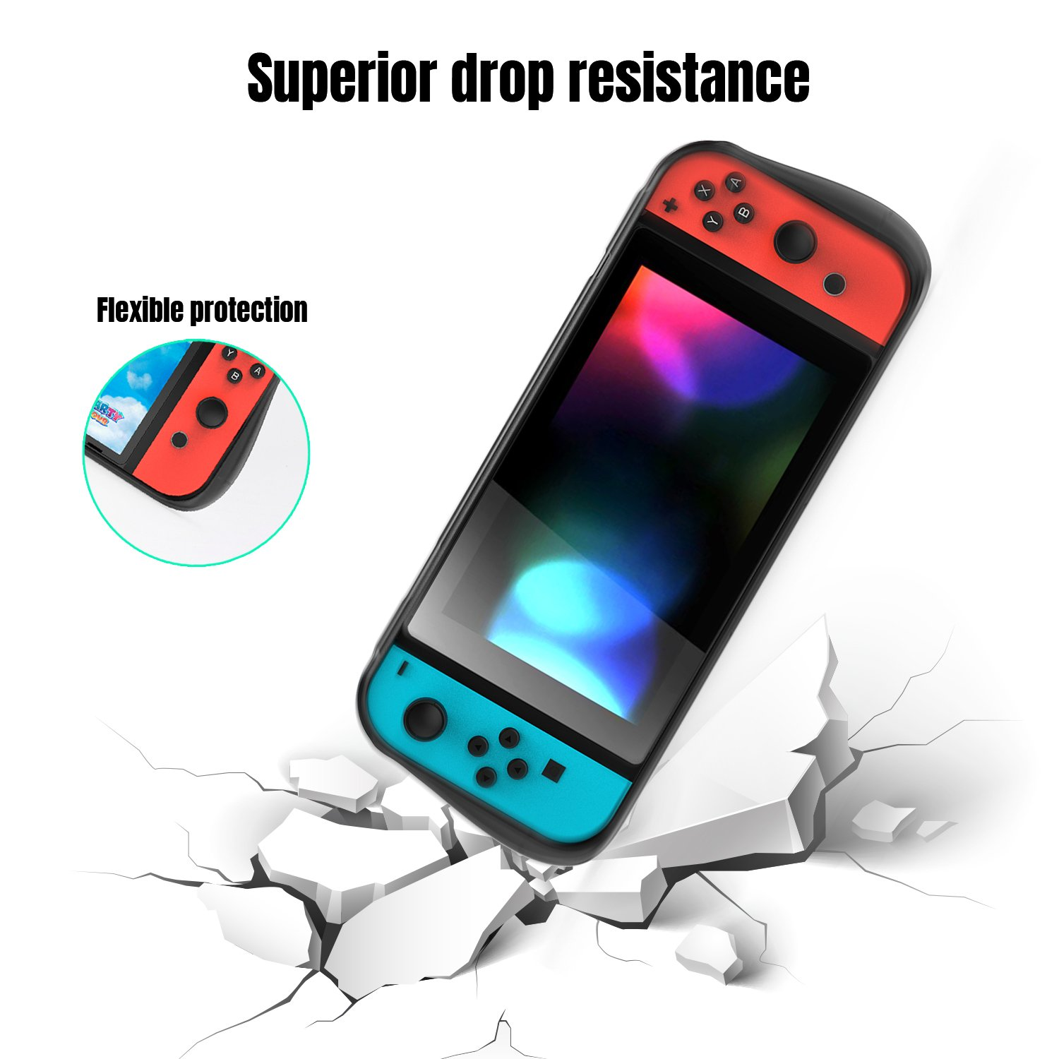 YCCTEAM Protective Case for Nintendo Switch, Heat Dissipation Comfortable Soft Silicone Gel Rubber Full Body Protection Shockproof Cover Case for Nintendo Switch in Handheld Gamepad Mode (Black)