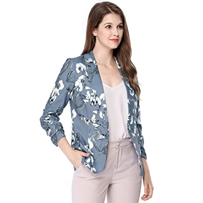 Allegra K Women's Notched Lapel Button Front Floral Blazer at Women's Clothing store