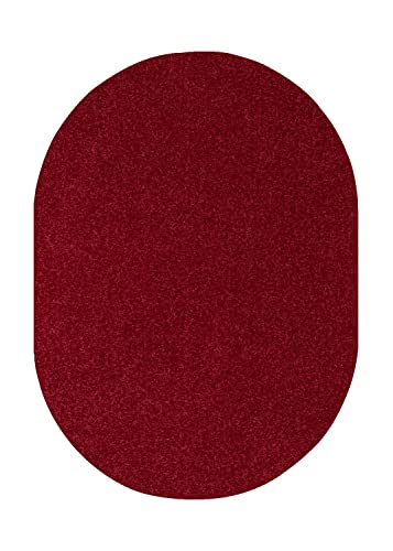 Home Queen Color World Collection Way Solid Color Burgundy Area Rug – 3 x5 Oval