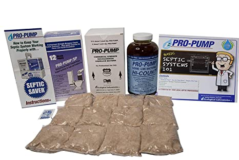 Pro Pump Septic Tank Treatment-1 Year Supply- Upgrade Your System with  Flushable Living Bacteria 12 Biodegradable Enzyme Packets and 2 Toilet Leak