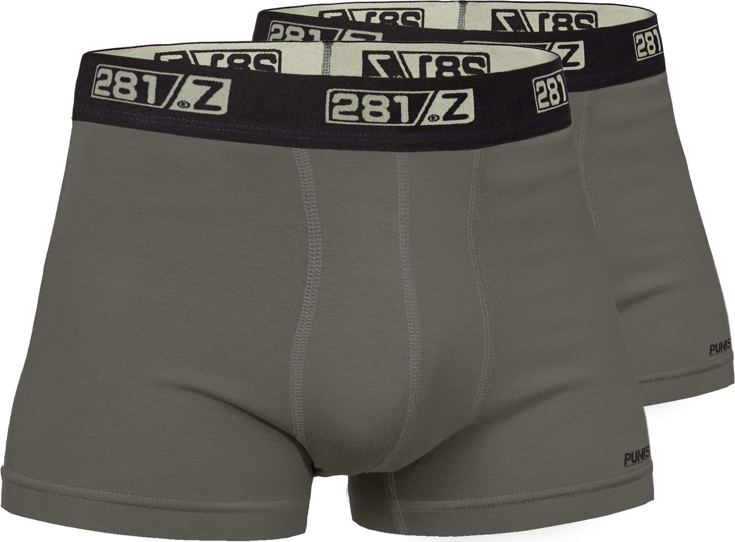 281Z Military Underwear Cotton 2-Inch Boxer Briefs - Tactical Hiking Outdoor - Punisher Combat Line (Large, Olive Drab (2 Pack))