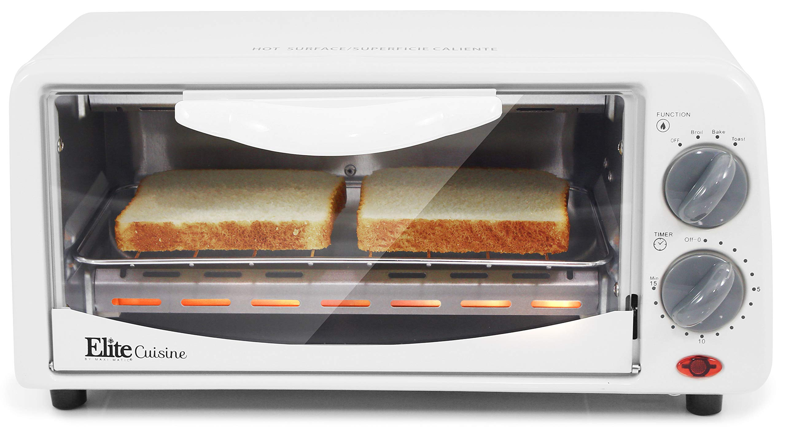 Elite Cuisine ETO-224 Personal 2 Slice Countertop Toaster Oven with 15 Minute Timer Includes Pan and Wire Rack, Bake, Broil, Toast by Maxi-Matic