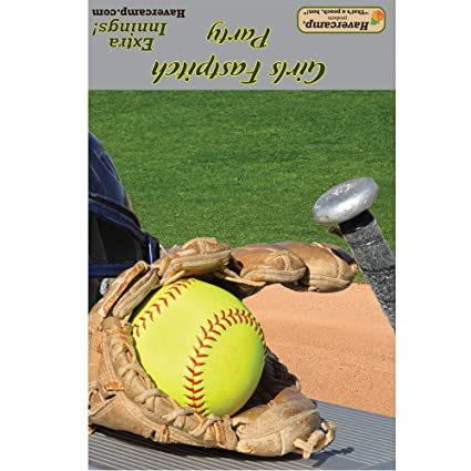 amazon com softball party invitations and envelopes 8 pack girl s