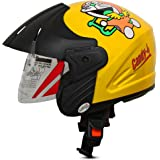 ACTIVE Junior Open Face Face Helmet for Kids from 3 to 6 Years (YELLOW,Size-Extra Small)(CARTOON CHARACTERs MAY VERY) (YELLOW)