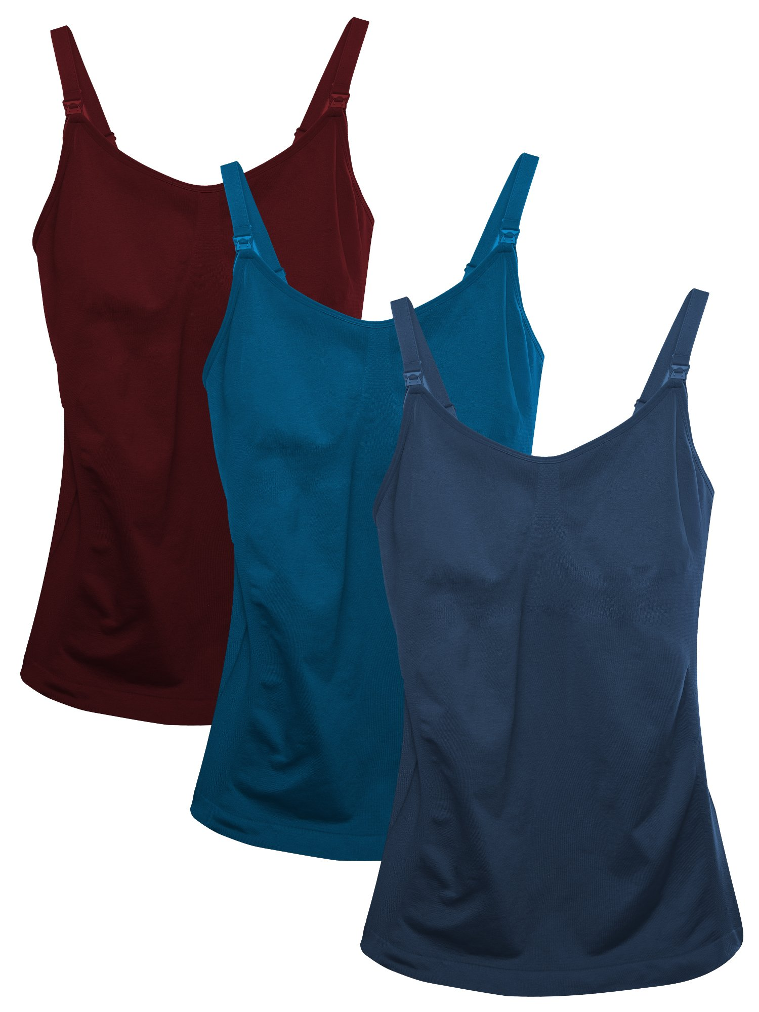 Mother's Breast Feeding Tops,Maternity Nursing Cami with Build in Bra 3PCS/Pack Red Wine,Sky Blue,Navy Blue S/M