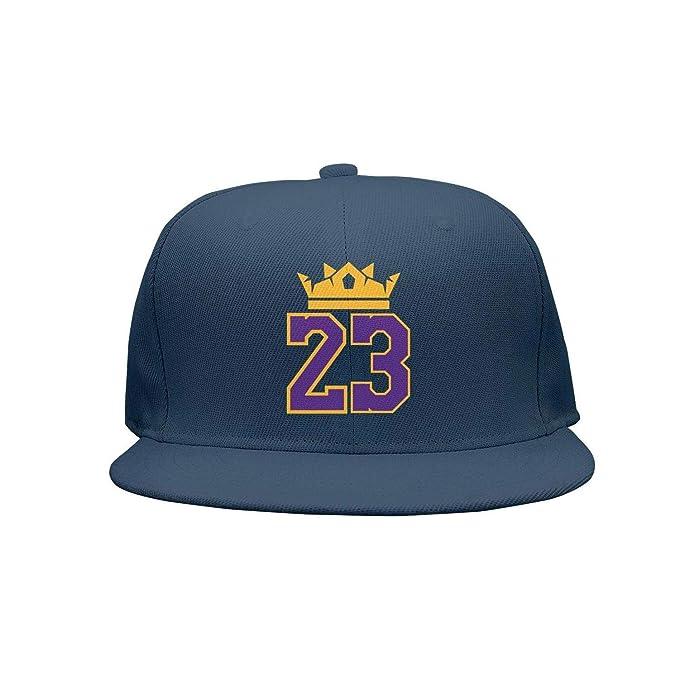 7a92a05dcf2 Amazon.com  La-bron-23-CROWN Flat Bill Adjustable Hat Baseball Hat ...