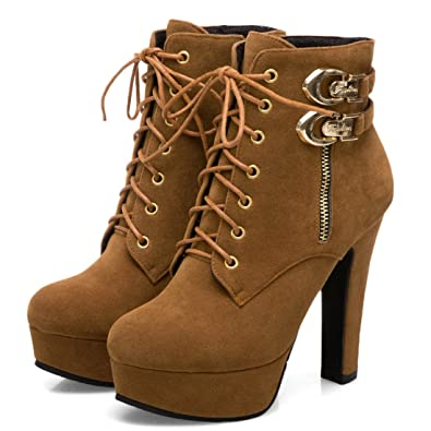 98c7484d3dfee Mostrin Women s Lace up Martin Boots Round Toe Platform Chunky High Heel  Double Buckle Side Zipper