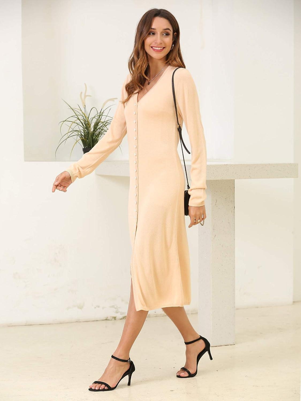 Woolen Bloom Cardigan Donna Lungo Cardigan Donna Elegante con Scollo a V Cappotto Lungo con Manica Lunga per Primavera Autunno