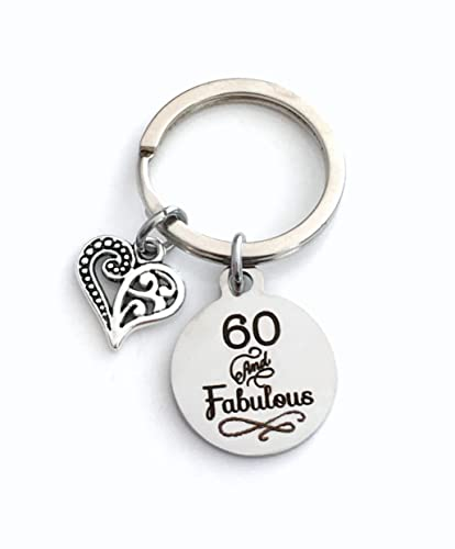 Amazon 60th Birthday Gift For Women Keychain 60 And Fabulous Key Chain Wife Sister Best Friend Present Handmade