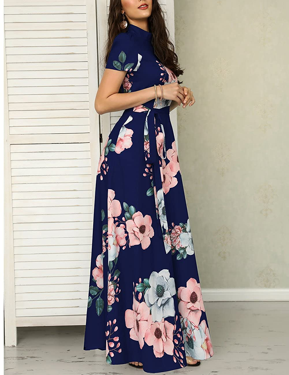 5490d201511 Ivrose Womens Short Sleeves Floral Maxi Dress Blue M at Amazon Women s  Clothing store