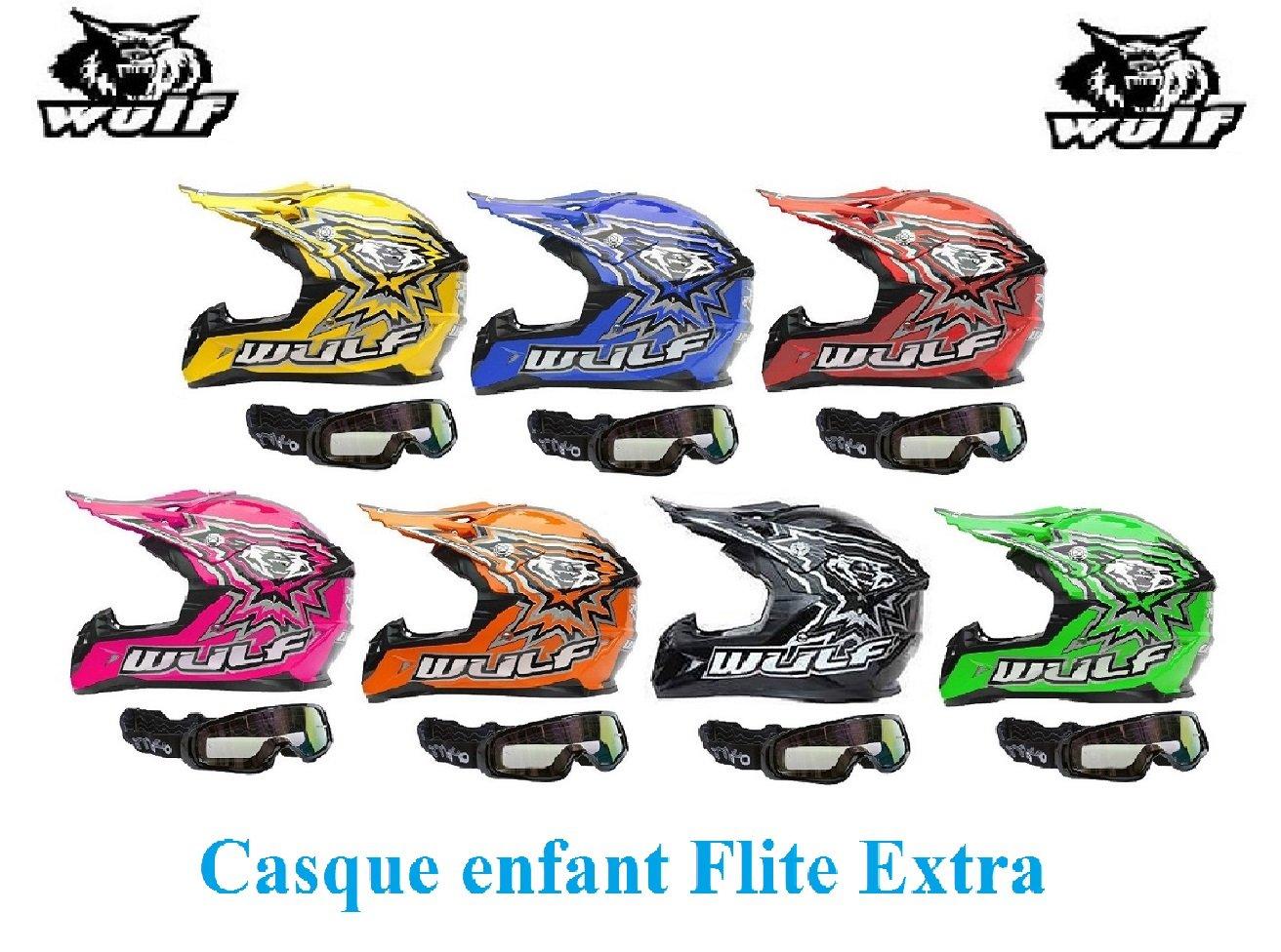 Casque moto enfant WULF FLITE-EXTRA ENFANTS CASQUE Moto Quad MX VTT Sports hors route Casque ECE + X1 Lunettes noires (noir, M) WULFSPORT