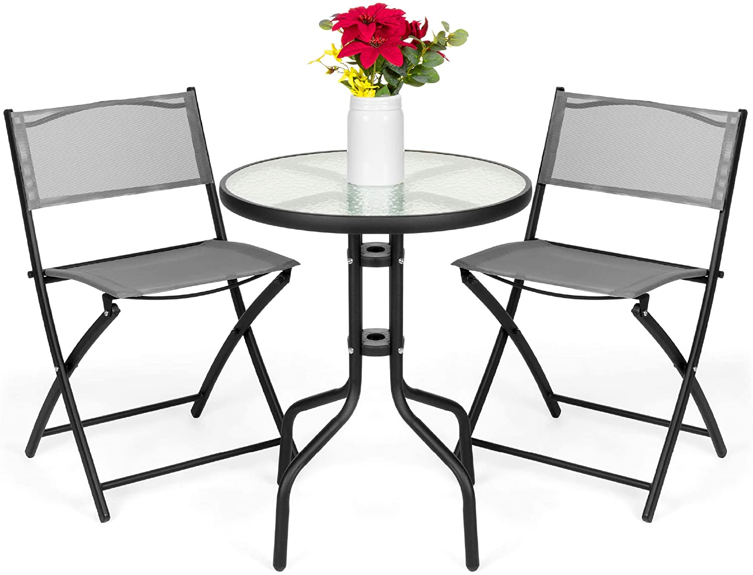 Amazon Com Best Choice Products 3 Piece Patio Bistro Dining Furniture Set W Textured Glass Table Top 2 Folding Chairs Steel Frame Polyester Fabric Gray Garden Outdoor