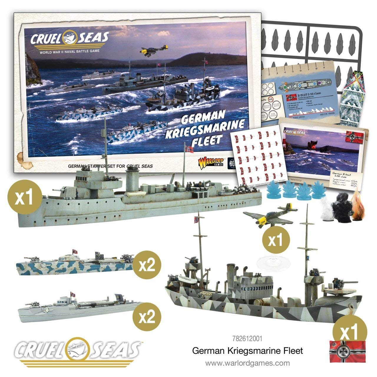 Cruel Seas German Kriegsmarine Fleet Starter Set, World War II Naval Battle Game ... by Cruel Seas (Image #1)