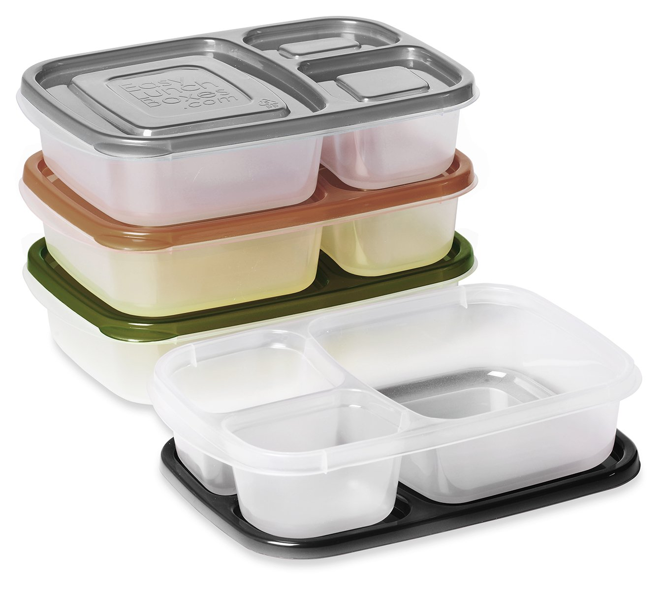 easylunchboxes 3 compartment bento lunch box containers set of 4 urban amazon. Black Bedroom Furniture Sets. Home Design Ideas