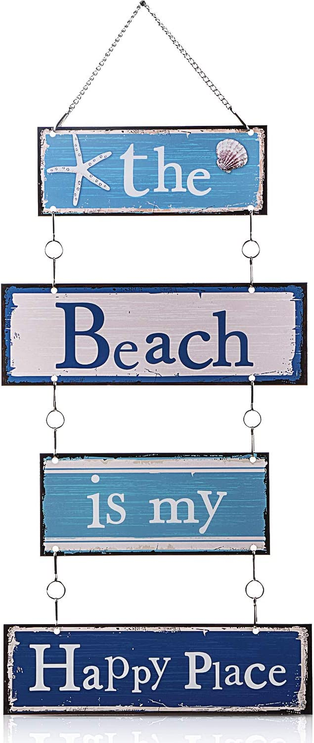Metal Hanging Vintage Design Beach Plaque Door Wall Plaque Decor Sign with Diamond-Studded Starfish, The Beach is My Happy Place Metal Wall Decorative Metal Sign (Blue and White)