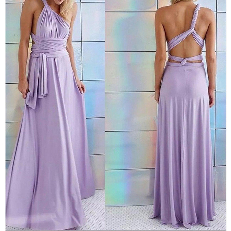 Multiway Wrap Convertible Red Dress Bandage Long Dress Party Bridesmaids Infinity Robe Longue