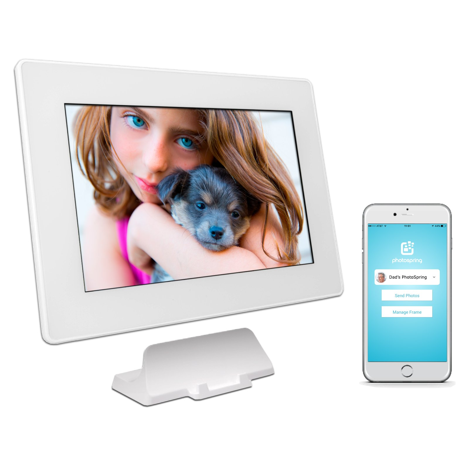 PhotoSpring (32GB) 10-Inch IPS, WiFi, Touchscreen, Battery, iPhone & Android App, Photo & Video, Picture Frame (White) 32,000 photo capacity