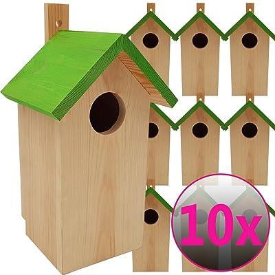 10x Nichoirs pour oiseaux 23 x 13 x 14 cm en bois idéal pour mésanges, mésanges charbonnière,geais des chênes et d'autres petits oiseaux