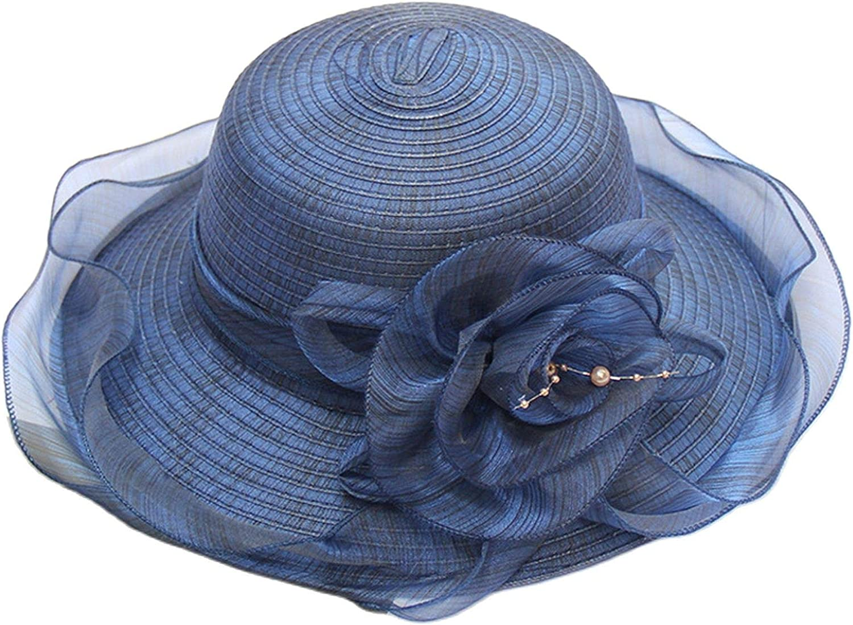 Tocado para mujer, sombrero de paja de organza con flor, 1 pieza para boda, fiesta, noche, carrera, caballo