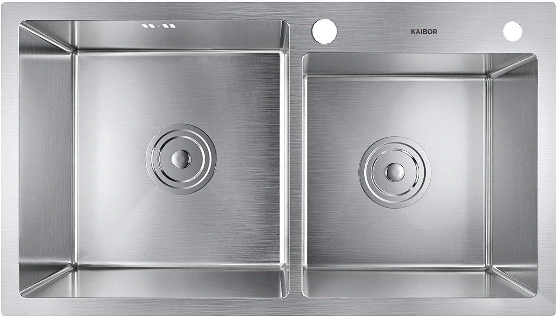 sobre encimera o enrasado KAIBOR fregadero cocina dos senos con escurridor y sif/ón rebosadero 78x43x20cm fregaderos de cocina acero inoxidable 304