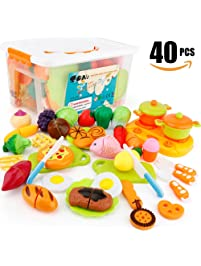 40 PCS Cutting Toys SONi Play Food Toys Kitchen Accessories Pretend Play  Toys For Girls Boy
