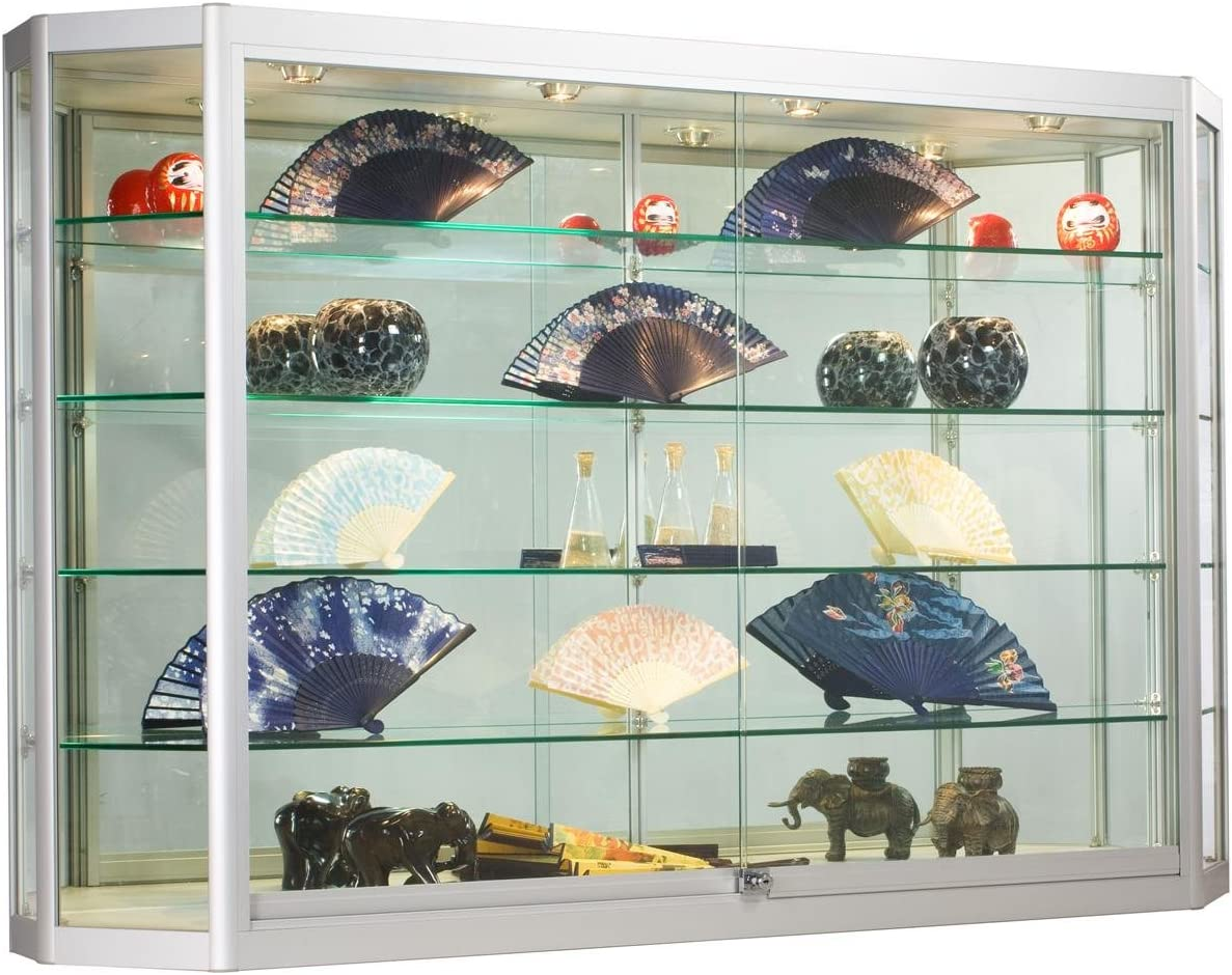 Wall-Mounted Silver Aluminum Glass Display Cabinet, Illuminated, Angled Front, Illuminated, Locking Sliding Doors, Ships Fully Assembled