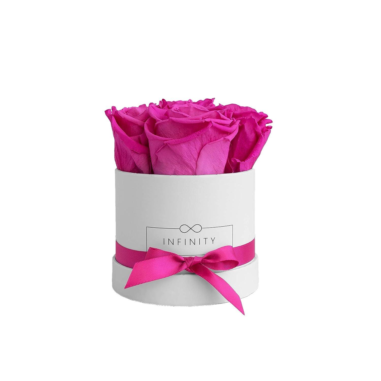 Infinity Flowerbox Small (Weiß) - 4 echte Premiumrosen in Hot Pink