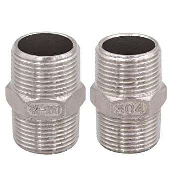 Home Piping Application DERPIPE Stainless Steel 304 Threaded Pipe Fitting for Brew Kit Hex Nipple 1 Inch Male NPT