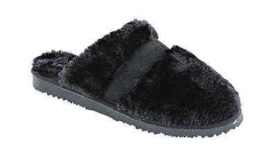 47725b1e8692a Women s Ella Jenny Warm Faux Fur Lined Memory Foam Mules Slippers (4 UK
