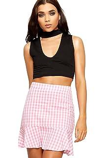de1e2e543a7eb2 WearAll Women s Gingham Check Print Mini Skirt Ladies Side Zip Frill Short  New ...