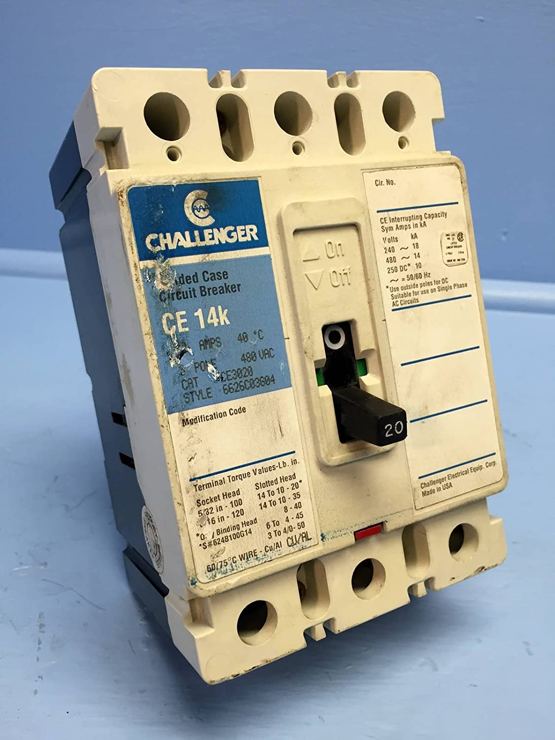 Breaker Fuse Box 50s Electrical Wiring Diagrams Outdated Challenger Ce3020 20a Circuit 480v Ce 14k Ce3020l Cutler Old Fuses