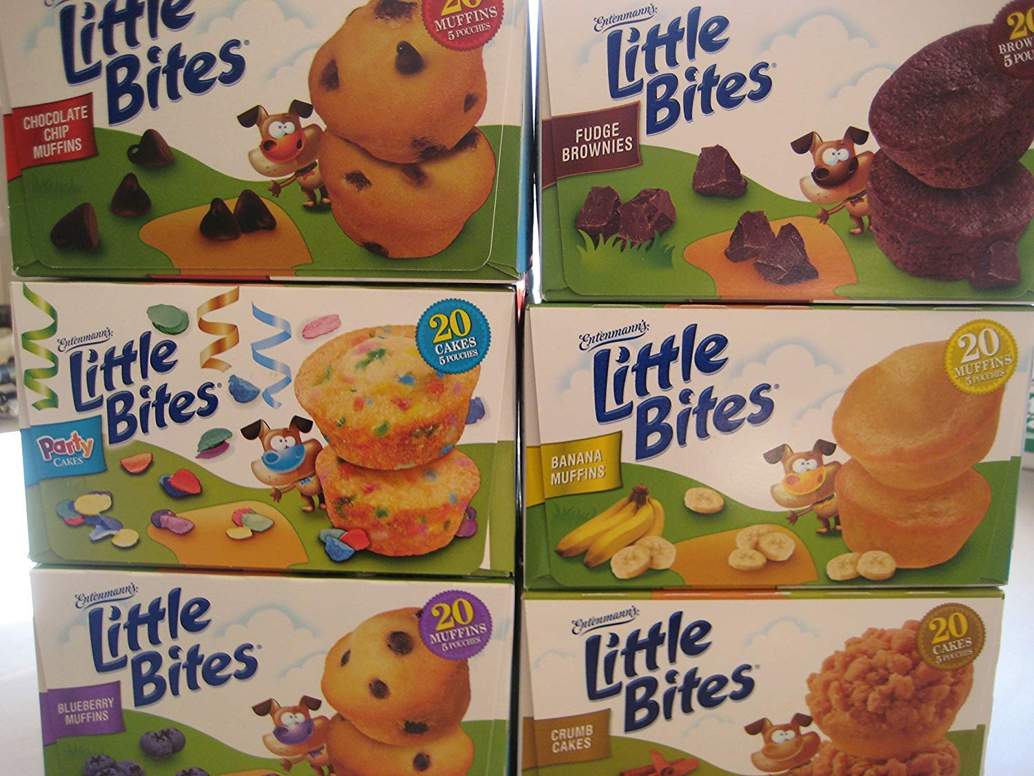 Entenmann's Little Bites Variety Bundle: Chocolate Chip Muffins, Fudge Brownies, Party Cakes, Banana Muffins, Blueberry Muffins, Crumb Cakes. (6-Pack)