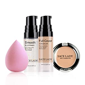 Waterproof Full Coverage Concealer With Primer Sponge Set, Smooth Matte Flawless Creamy Liquid Foundation Corrector Makeup Kit for Face Eye Dark Circles Spot Acne Scar Cover (Warm Natural)