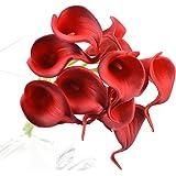FiveSeasonStuff 10 pezzi Qualità Tocco Realistico Calla Lilies Artificiale Mazzo di Fiori, Ideale per Matrimoni, Sposa, Partito, Casa, Studio Décor Fai da te (Rosso Scuro)