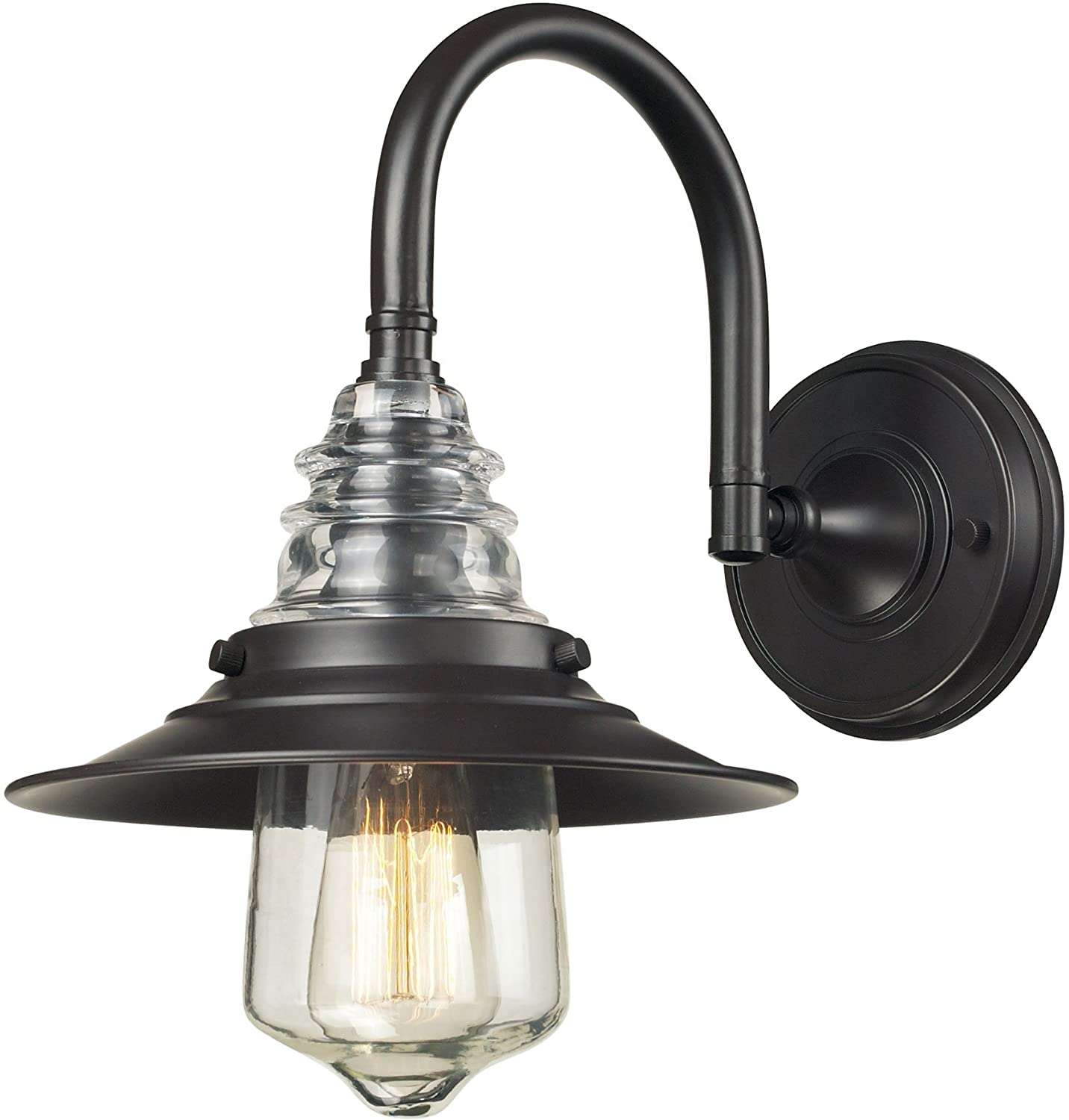 Elk 66812 1 9 by 14 inch insulator glass 1 light wall sconce elk 66812 1 9 by 14 inch insulator glass 1 light wall sconce oiled bronze finish amazon amipublicfo Image collections