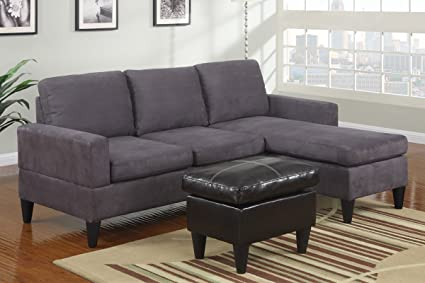 Poundex Hesse Sectional Sofa Set Upholstered In Gray Microfiber Faux Leather