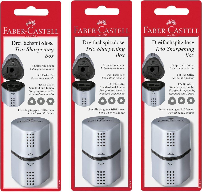 Sharpener for Standard /& Jumbo Size Pencils Faber Castell Grip 2001 Trio 3in1