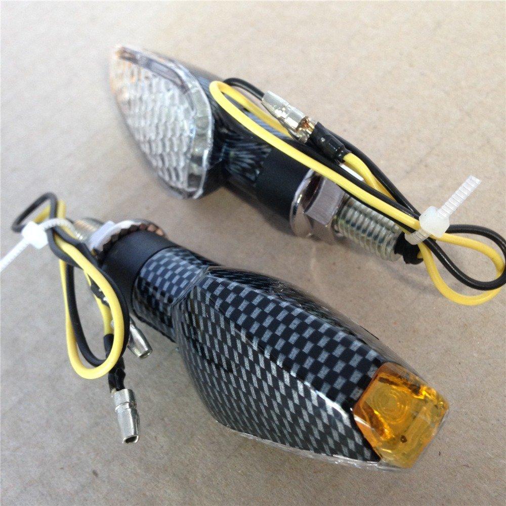 fari frecce laterali in fibra di carbonio E lampadine LED per moto