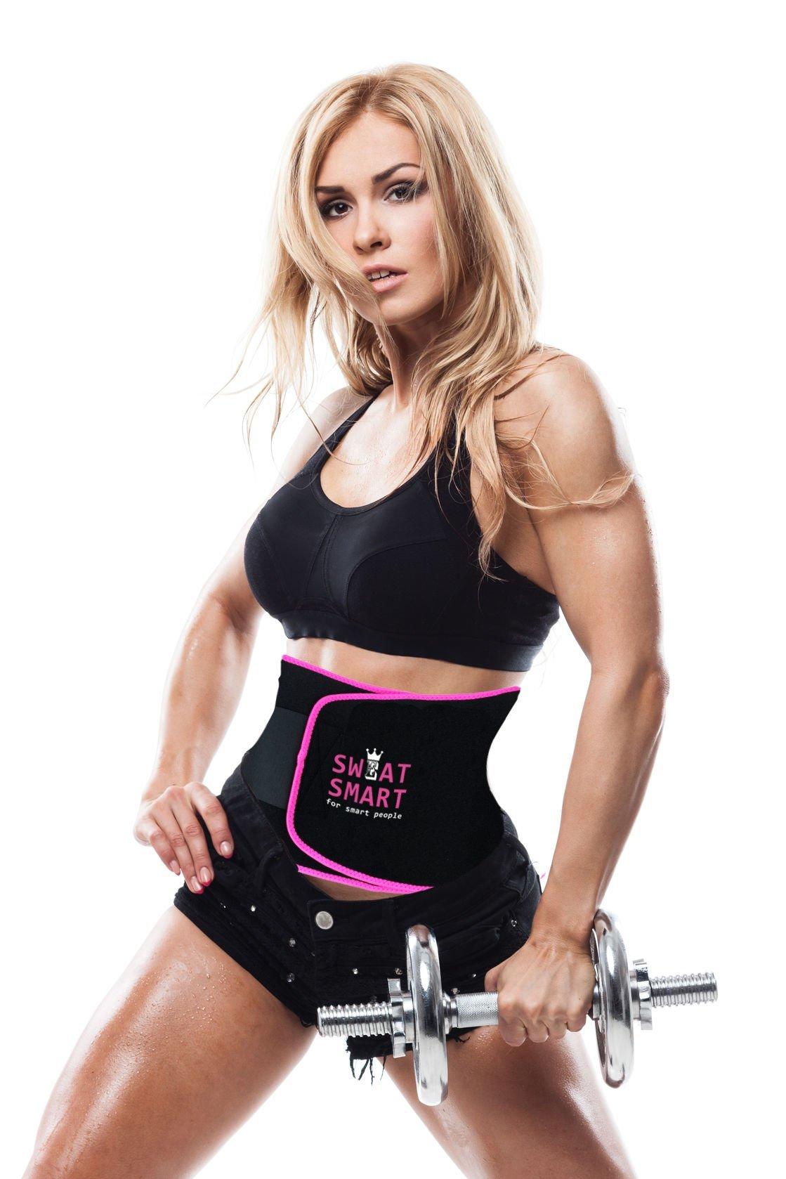 Sweat Smart Fitness Neoprene Waist Trimmer Reformer Athletics Shapewear Lose Belly Fat Burner Slim Body Wrap Weight Loss Fast - Pink(Small: 8'' Width x 35'' Length)