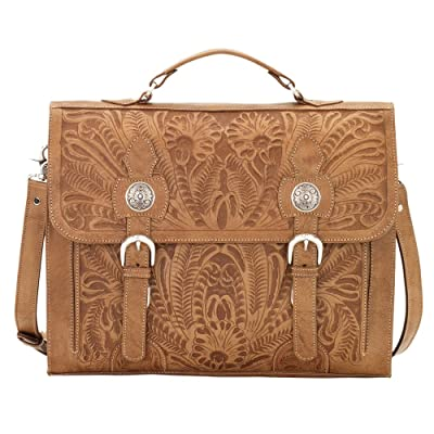 American West Men's Leather Stagecoach Laptop Briefcase - 4242208