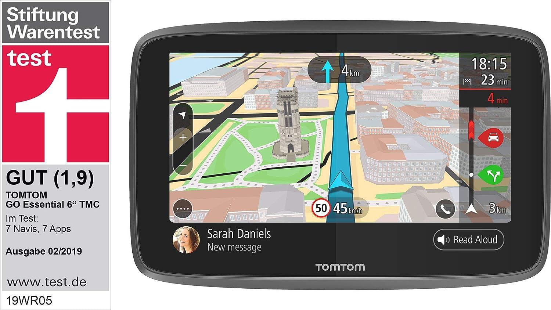 TomTom GO Essential Pkw-Navi 6 Zoll, mit Freisprechen, Updates /über Wi-Fi, Lebenslang Traffic via Smartphone und Karten von Europa, Smartphone-Benachrichtigungen, kapazitivem Display, TMC