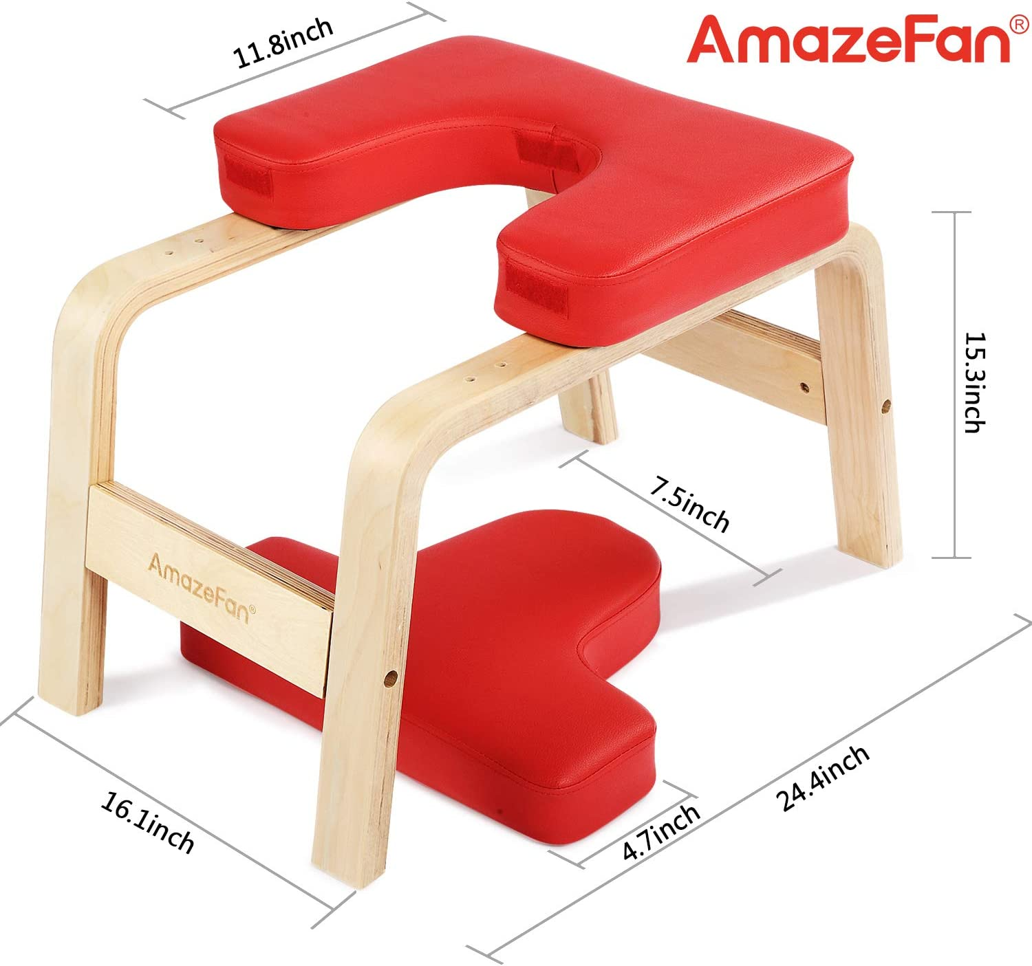 AmazeFan Yoga Headstand Bench - Stand Yoga Inversion Chair Stool with Wood and PU Pads - Handstand Trainer with 1 Yoga Stretch Strap - Relieve Fatigue ...