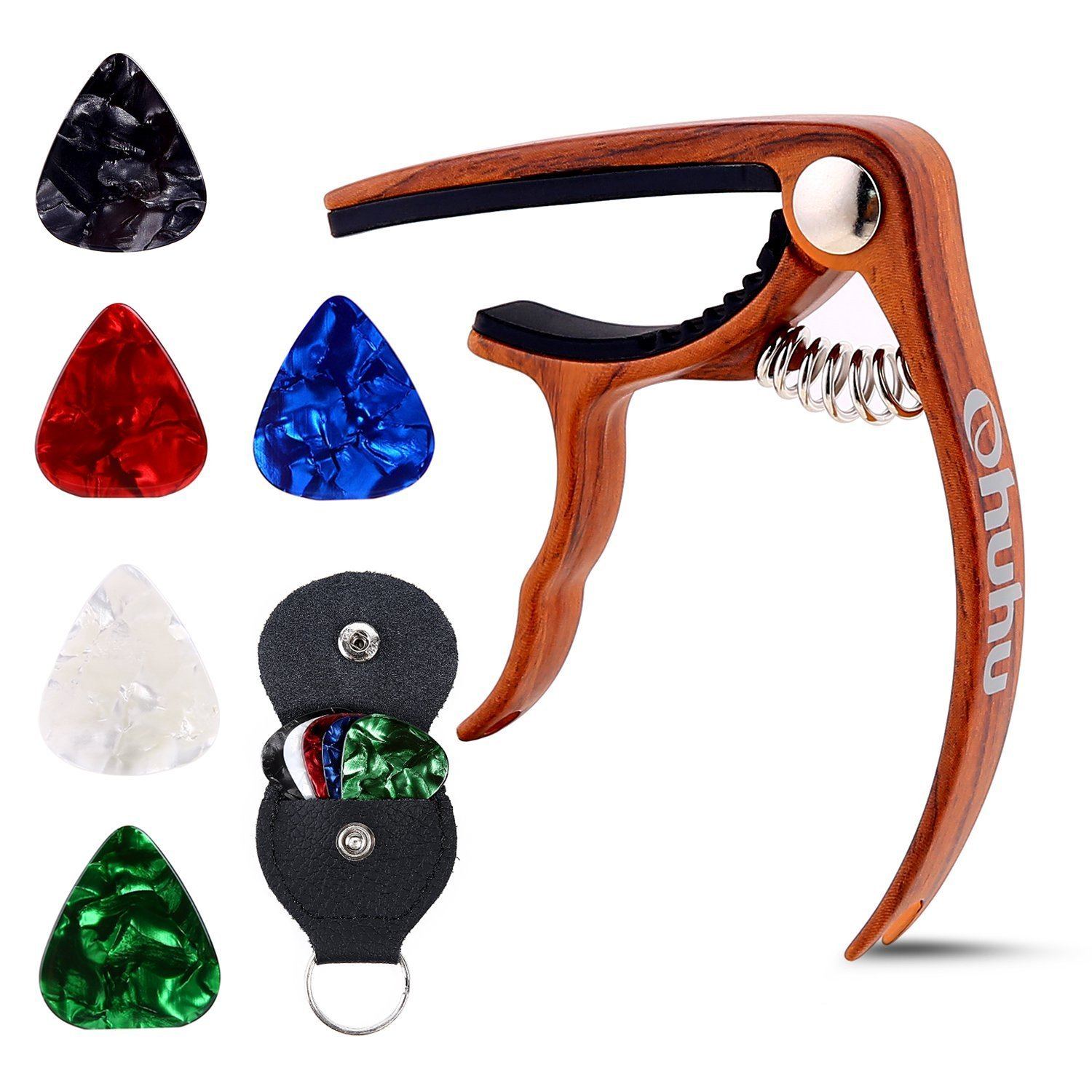 Ohuhu Guitar Capo for Acoustic, Electric Guitars, Ukulele, Zinc Alloy- Quick Change Guitar Capo With Free 5 Picks & Pick Holder( RoseWood Color), Acoustic Guitar Accessories Trigger Capo Key Clamp Y32-81000-05