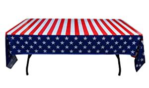 Exquisite 12-Pack Premium Rectangle American Flag Design Plastic Tablecloth - USA Stars and Stripes Tablecloth Disposable Plastic Table Cover for July 4th - 54 inch. x 108 inch.